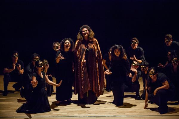 "Jennifer Chen, as Second Witch, Angelica Rowell as Sorceress, and Sarah Yoonhee Chin as First Witch in ""Dido and Aeneas"""