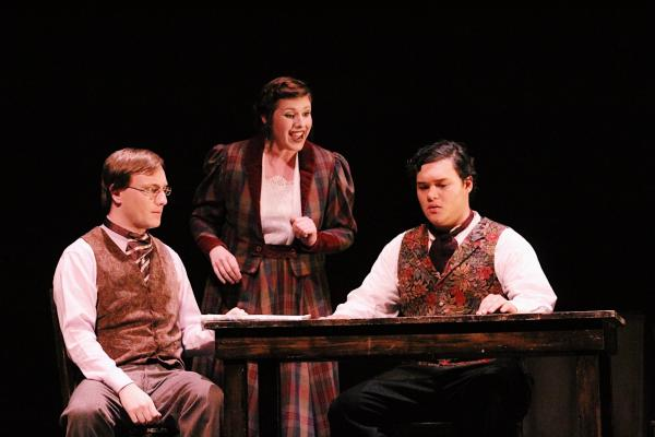 "Jaime Sanderson as Mr. Webb, Laura Erath as Mrs. Webb, and Jake Tulley as George Gibbs in the Southern California premiere of Ned Rorem's ""Our Town"" based on the play by Thornton Wilder, 2017"