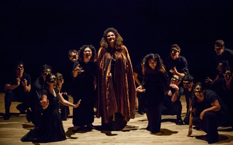 """Jennifer Chen, as Second Witch, Angelica Rowell as Sorceress, and Sarah Yoonhee Chin as First Witch in """"Dido and Aeneas"""""""