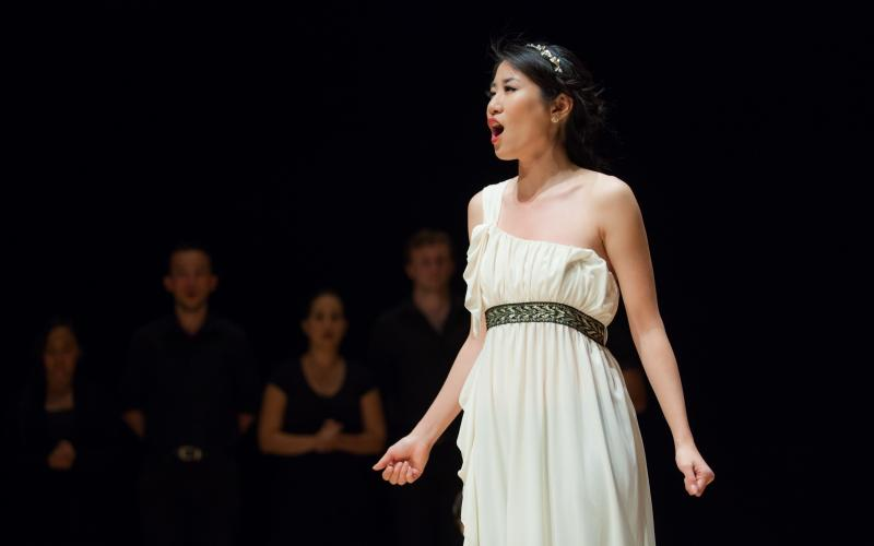 """Lauren Han sings the role of Belinda in """"Dido and Aeneas"""" 2016, Winifred Smith Hall"""