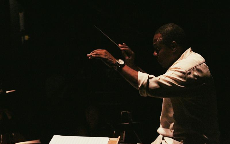 Maestro Stephen Tucker rehearsing the UCI Symphony, 2018