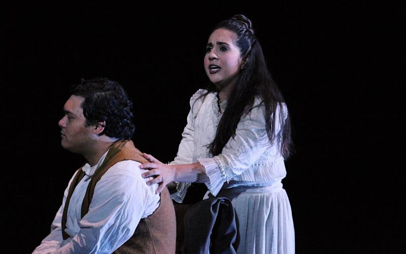 """Jake Tulley as George Gibbs, and Brianna Finnell as Emily Webb (Mrs.  George Gibbs) in the Southern California premiere of Ned Rorem's """"Our Town"""" based on the play by Thornton Wilder, 2017"""