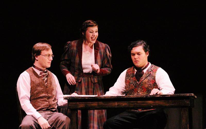 """Jaime Sanderson as Mr. Webb, Laura Erath as Mrs. Webb, and Jake Tulley as George Gibbs in the Southern California premiere of Ned Rorem's """"Our Town"""" based on the play by Thornton Wilder, 2017"""
